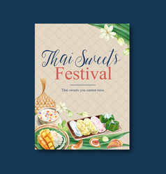 Thai sweet poster design with jasmine pudding vector