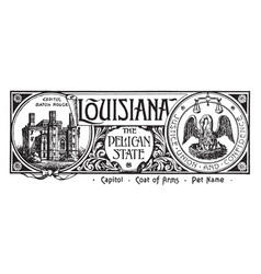 The state banner of louisiana the pelican state vector