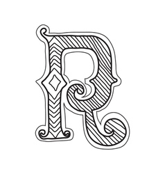 The vintage style letter r vector