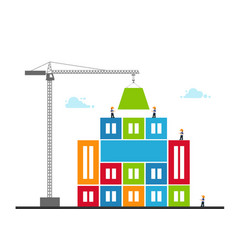 tower crane made colored blocks builds city vector image