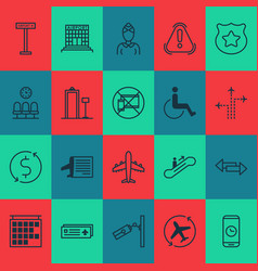 transportation icons set with waiting room metal vector image