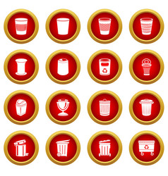 trash can icons set simple style vector image