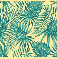 tropical leaves blue tone yellow background vector image