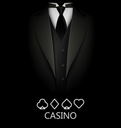 Tuxedo with suit of cards background casino vector