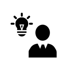 Verified idea lightbulb in man head icon icon vector