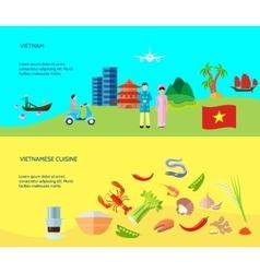Vietnamese Culture 2 Horizontal Flat Banners vector