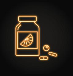 Vitamin bottle icon in neon line style vector
