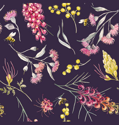 Watercolor australian grevillea pattern vector