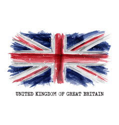Watercolor painting flag of united kingdom vector