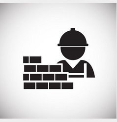 worker with bricks on white background vector image