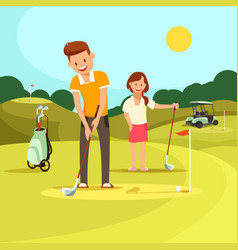 young man and woman playing golf on green field vector image