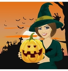 Young woman dressed like witch vector image