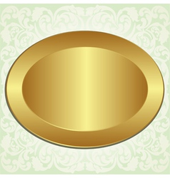 gold oval with ornaments vector image vector image