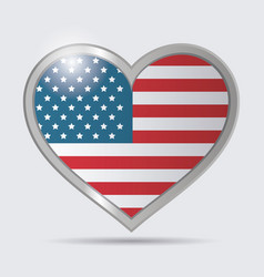 heart usa flag glossy button emblem vector image vector image