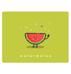 icon of watermelon fruit funny cartoon character vector image vector image