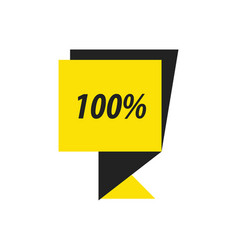 label hundred percent black yellow vector image vector image