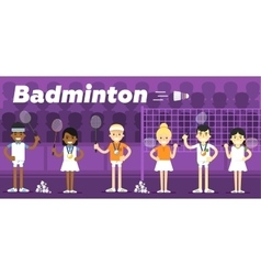 Badminton team on awarding some pedestal vector image
