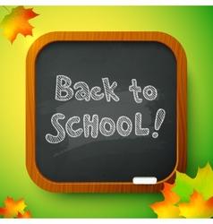 Chalk back to school sign on black school board vector