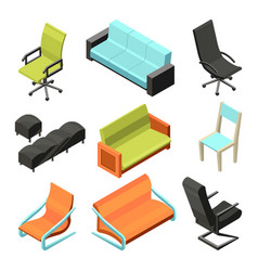 different office chairs isometric vector image