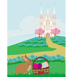 Easter landscape with eggs and sweet bunny vector image