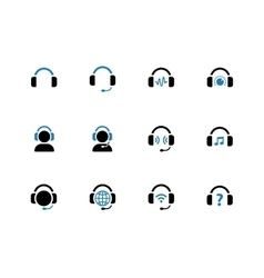 Headphone duotone icons on white background vector image vector image