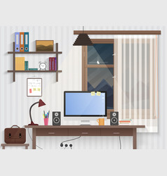 male teenager room with workplace modern man vector image vector image