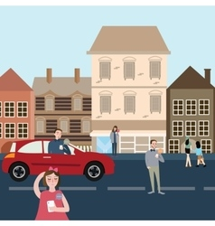 man woman people on the street and car using their vector image
