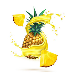 realistic pineapple juice splash slice vector image vector image