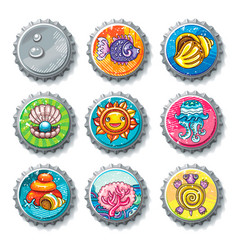 set of metallic bottle caps summer drawings vector image vector image