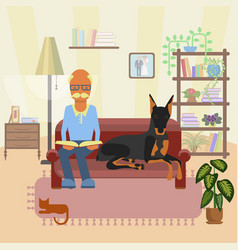 a senior man with dog vector image vector image