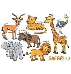 Animals in the safari areas vector image