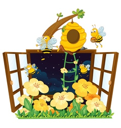 bees bird house and window vector image vector image