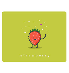 icon of strawberry fruit funny cartoon character vector image