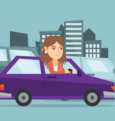 angry caucasian woman in car stuck in traffic jam vector image vector image