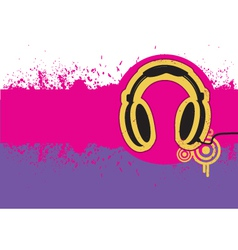 Headphone on grunge background for text vector image