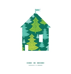 holiday christmas trees house silhouette pattern vector image vector image