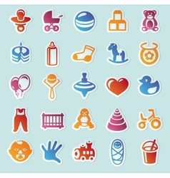 Set of stickers with kids and toys vector image vector image