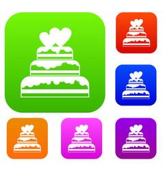 wedding cake set collection vector image