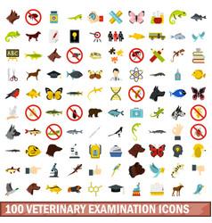100 veterinary examination icons set flat style vector image