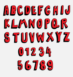 3d cartoon font red and black collection vector