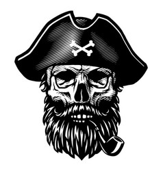 a dead pirate with smoking pipe and captains vector image