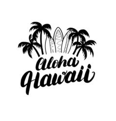 Aloha Hawaii hand lettering surf poster tee print vector