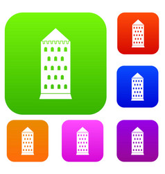 ancient building set color collection vector image vector image