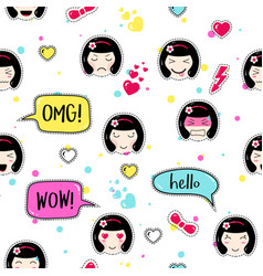 Anime style seamless pattern cute emoji girls vector