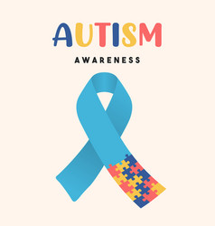 Autism awareness day puzzle ribbon game card vector