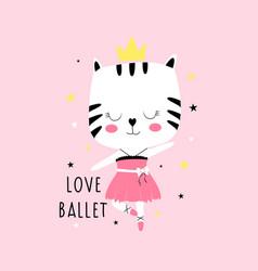 Ballerina cat print design vector