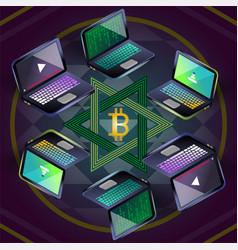 Bitcoin group of six laptops on sri yantra vector