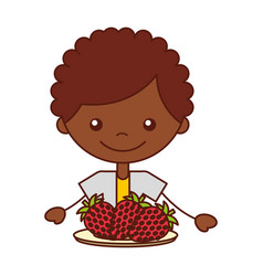 boy with fresh fruit strawberry vector image