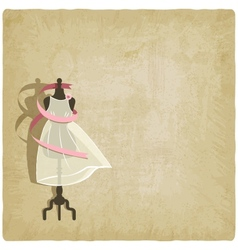 Bride dress on old paper background vector