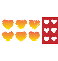 Burning heart icon set vector